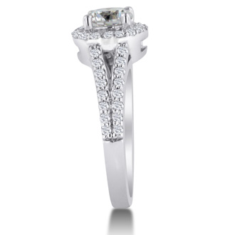 1 3/8ct Round Diamond Halo Engagement Ring Crafted In Solid 14K White Gold