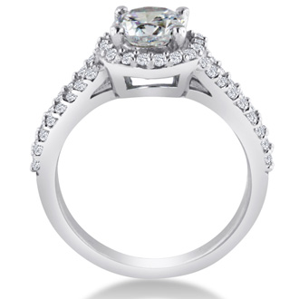 1 3/8 Carat Round Diamond Halo Engagement Ring In 14K White Gold