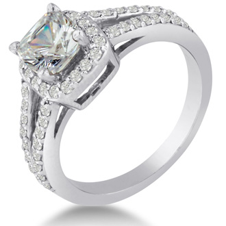 1 Carat Cushion Cut Diamond Halo Engagement Ring In 14K White Gold