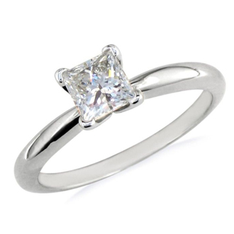 1/2ct Platinum Princess Diamond Solitaire Engagement Ring,G/H SI1