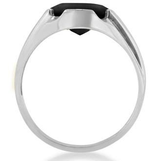 Oval Cabochon Black Onyx and Diamond Men's Ring Crafted In Solid 14K White Gold