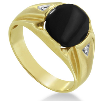 Oval Cabochon Black Onyx and Diamond Men's Ring Crafted In Solid 14K Yellow Gold