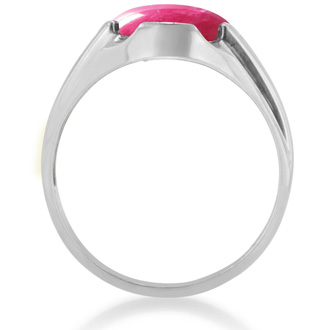 4 1/2ct Oval Cabochon Created Ruby and Diamond Men's Ring Crafted In Solid White Gold