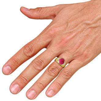 4 1/2ct Oval Cabochon Created Ruby and Diamond Men's Ring Crafted In Solid Yellow Gold