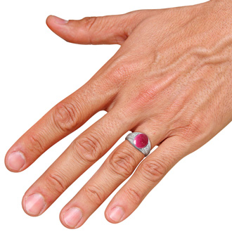 4 1/2ct Oval Cabochon Created Ruby and Diamond Men's Ring Crafted In Solid 14K White Gold