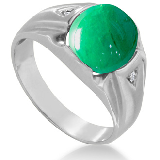 4 1/2ct Oval Cabochon Created Emerald and Diamond Men's Ring Crafted In Solid 14K White Gold