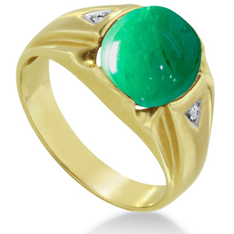 4 1/2ct Oval Cabochon Created Emerald and Diamond Men's Ring Crafted In Solid 14K Yellow Gold