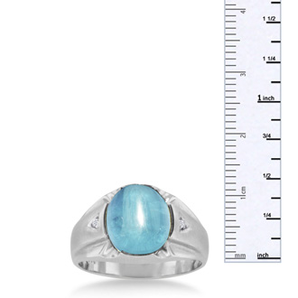 4 1/2ct Oval Cabochon Blue Topaz and Diamond Men's Ring Crafted In Solid White Gold