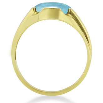 4 1/2ct Oval Cabochon Blue Topaz and Diamond Men's Ring Crafted In Solid Yellow Gold