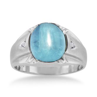 1/2ct Oval Cabochon Blue Topaz and Diamond Men's Ring Crafted In Solid 14K White Gold