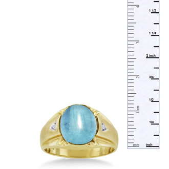 4 1/2ct Oval Cabochon Blue Topaz and Diamond Men's Ring Crafted In Solid 14K Yellow Gold