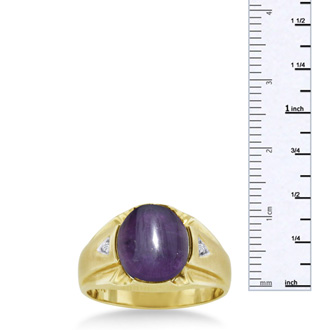 4 1/2ct Oval Cabochon Amethyst and Diamond Men's Ring Crafted In Solid Yellow Gold