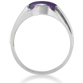 4 1/2ct Oval Cabochon Amethyst and Diamond Men's Ring Crafted In Solid 14K White Gold