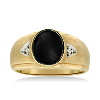 Oval Black Onyx and Diamond Men's Ring Crafted In Solid Yellow Gold