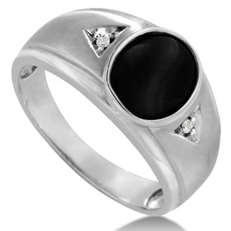 Oval Black Onyx and Diamond Men's Ring Crafted In Solid 14K White Gold