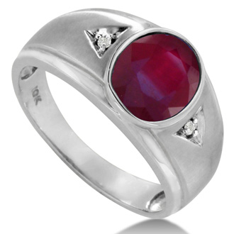2 1/2ct Oval Created Ruby and Diamond Men's Ring Crafted In Solid White Gold