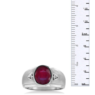 2 1/2ct Oval Created Ruby and Diamond Men's Ring Crafted In Solid 14K White Gold