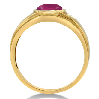 2 1/2ct Oval Created Ruby and Diamond Men's Ring Crafted In Solid 14K Yellow Gold