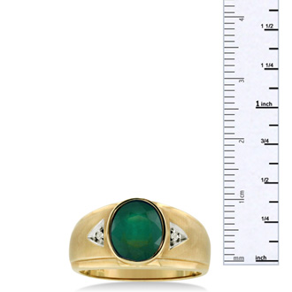 2 1/2ct Oval Created Emerald and Diamond Men's Ring Crafted In Solid Yellow Gold