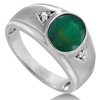 2 1/2ct Oval Created Emerald and Diamond Men's Ring Crafted In Solid 14K White Gold