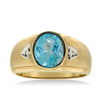 2 1/2ct Oval Blue Topaz and Diamond Men's Ring Crafted In Solid Yellow Gold