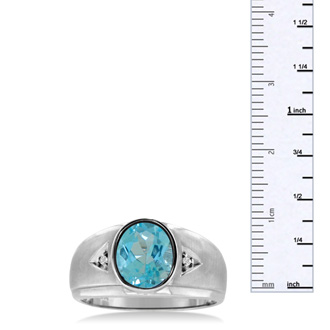 2 1/2ct Oval Blue Topaz and Diamond Men's Ring Crafted In Solid 14K White Gold