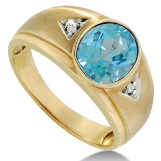 2 1/2ct Oval Blue Topaz and Diamond Men's Ring Crafted In Solid 14K Yellow Gold