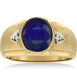 2 1/2ct Oval Created Sapphire and Diamond Men's Ring Crafted In Solid Yellow Gold