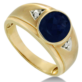 2 1/2ct Oval Created Sapphire and Diamond Men's Ring Crafted In Solid 14K Yellow Gold