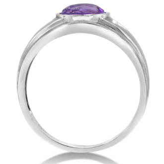 2 1/2ct Oval Amethyst and Diamond Men's Ring Crafted In Solid White Gold
