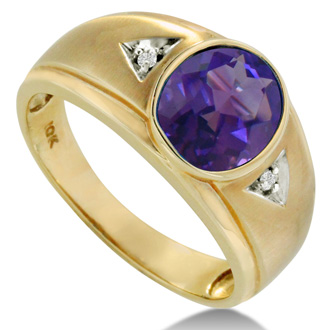 2 1/2ct Oval Amethyst and Diamond Men's Ring Crafted In Solid Yellow Gold