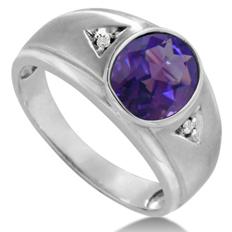2 1/2ct Oval Amethyst and Diamond Men's Ring Crafted In Solid 14K White Gold