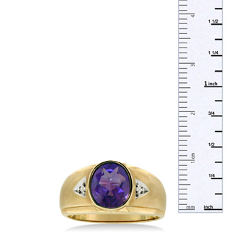2 1/2ct Oval Amethyst and Diamond Men's Ring Crafted In Solid 14K Yellow Gold