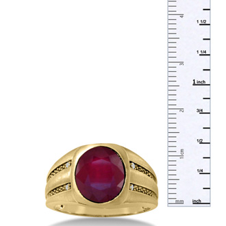 4 1/2ct Oval Created Ruby and Diamond Men's Ring Crafted In Solid Yellow Gold