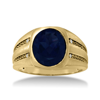 4 1/2ct Oval Created Sapphire and Diamond Men's Ring Crafted In Solid Yellow Gold