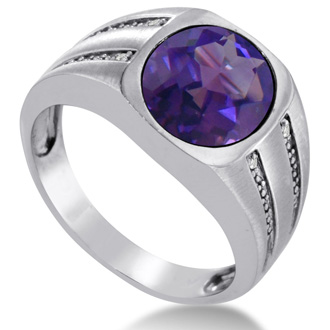 4 1/2ct Oval Amethyst and Diamond Men's Ring Crafted In Solid White Gold