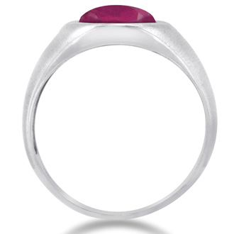 4 1/2ct Oval Created Ruby and Diamond Men's Ring Crafted In Solid 14K White Gold
