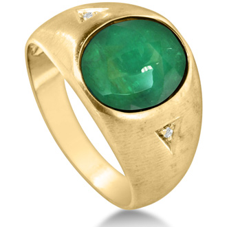 4 1/2ct Cabochon Cut Created Emerald and Diamond Men's Ring Crafted In Solid Yellow Gold
