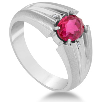 1 1/2ct Oval Created Ruby and Diamond Men's Ring Crafted In Solid White Gold