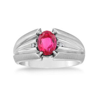 1 1/2ct Oval Created Ruby and Diamond Men's Ring Crafted In Solid 14K White Gold