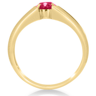 1 1/2ct Oval Created Ruby and Diamond Men's Ring Crafted In Solid 14K Yellow Gold