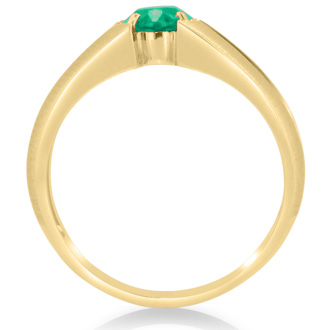 1 1/2ct Oval Created Emerald and Diamond Men's Ring Crafted In Solid Yellow Gold