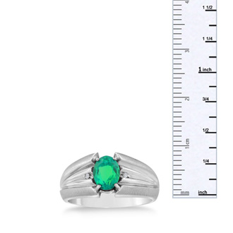 1 1/2ct Oval Created Emerald and Diamond Men's Ring Crafted In Solid 14K White Gold