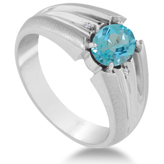 1 1/2ct Oval Blue Topaz and Diamond Men's Ring Crafted In Solid 14K White Gold