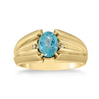 1 1/2ct Oval Blue Topaz and Diamond Men's Ring Crafted In Solid 14K Yellow Gold