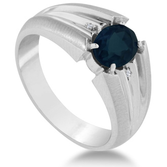 1 1/2ct Oval Created Sapphire and Diamond Men's Ring Crafted In Solid White Gold