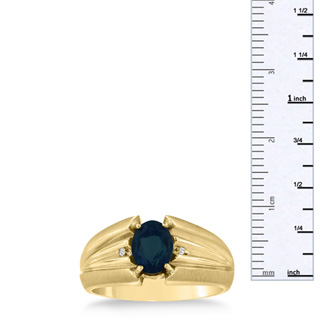 1 1/2ct Oval Created Sapphire and Diamond Men's Ring Crafted In Solid Yellow Gold