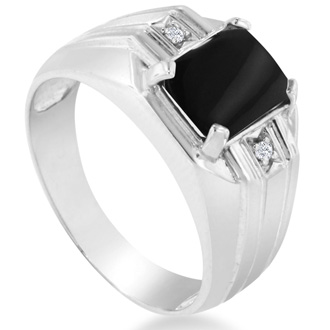 Emerald Cut Black Onyx and Diamond Men's Ring Crafted In Solid 14K White Gold