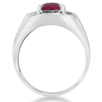 2 1/4ct Created Ruby and Diamond Men's Ring Crafted In Solid White Gold