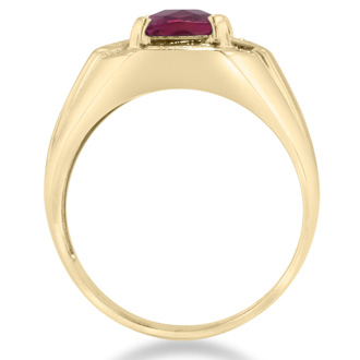 2 1/4ct Emerald Cut Created Ruby and Diamond Men's Ring Crafted In Solid Yellow Gold